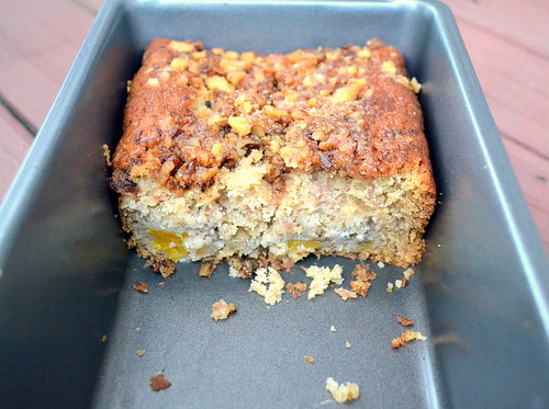 walnut streusel topped peach bread