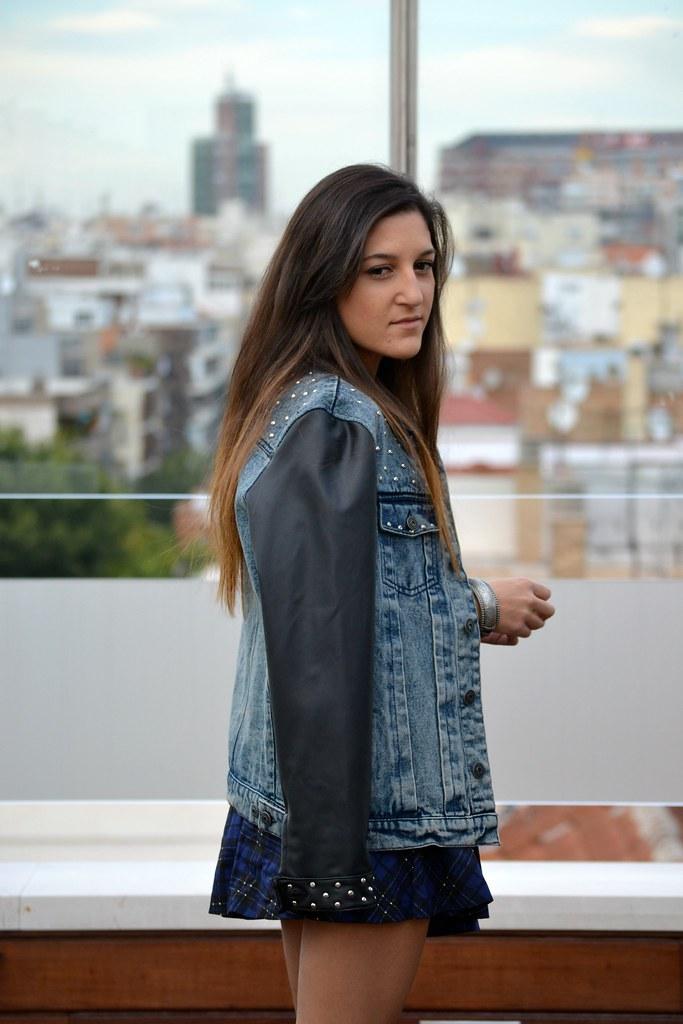 falda de cuadros azul  zara  5