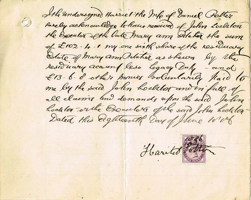 Harriet Potter, Norfolk, Receipt, 1886, share of estate of Mary Ann Pilcher, Faversham, Kent.