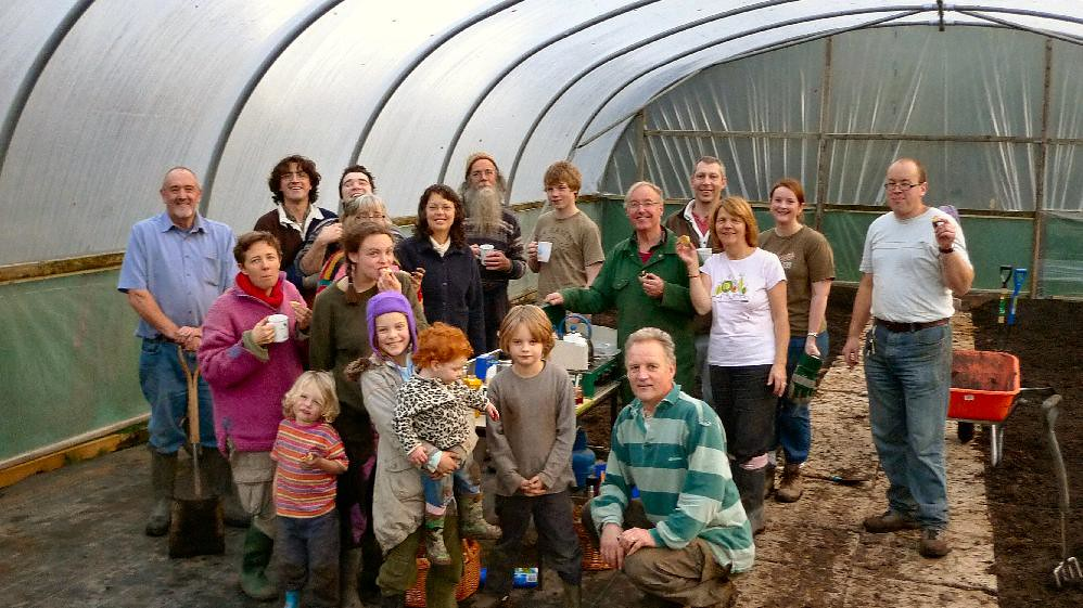 Working in the old polytunnel