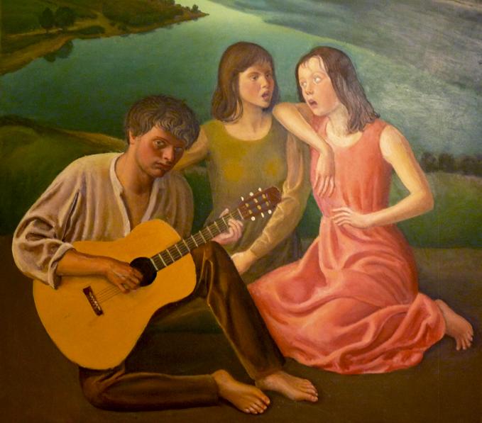 ragazzo sul lago con chitarra vincenzi c