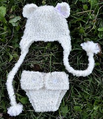 Teddy Bear Earflap Hat and Diaper Cover