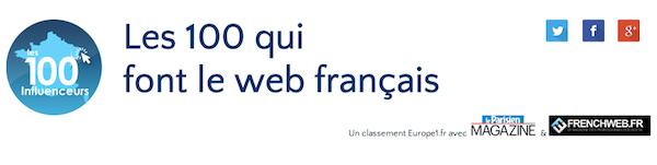 Les 100 qui font le web français