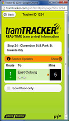 Next tram departure screen of TramTracker