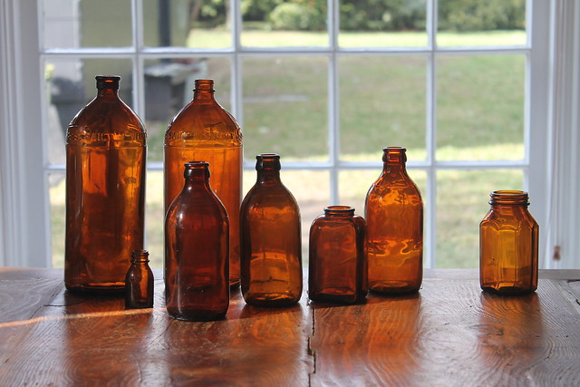 Vintage Amber Bottles, Amber Glass Bottles