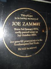Photo of Joe Zammit black plaque