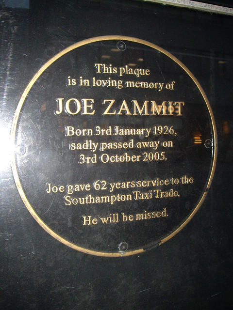 Photo of Joe Zammit black plaque