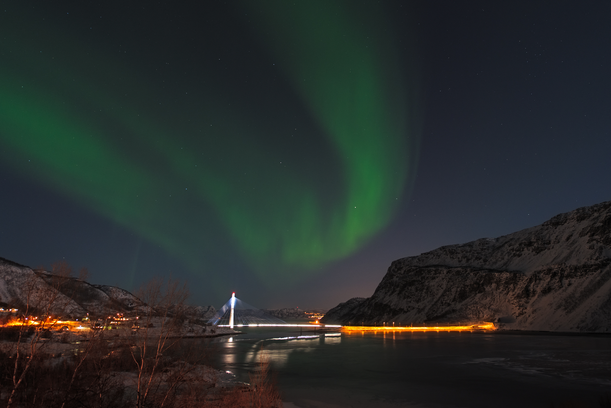 Aurora over the new Alta Bridge - Norway