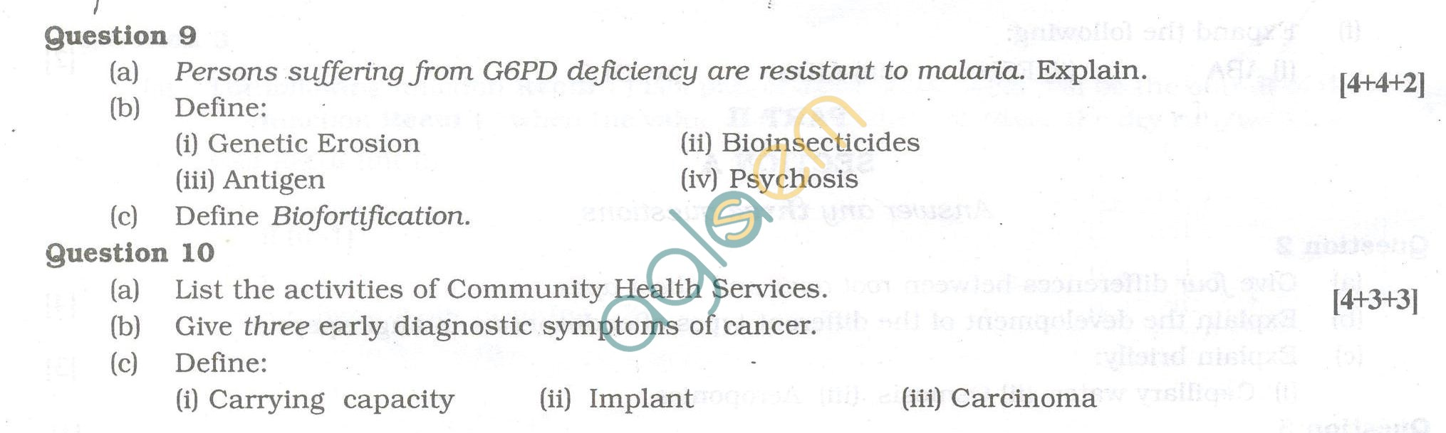 ISC Question Papers 2013 for Class 12 - Biology