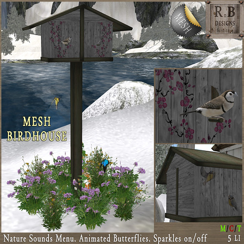 NEW ON SALE ! *RnB* Mesh Birdhouse - Grey (sounds & butterflies)