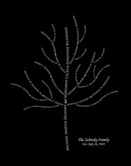 Family tree with names art black white present day