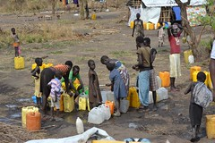 Bringing water to South Sudanese refugees in Uganda - A water tap stand in Nyumanzi 1 refugee camp