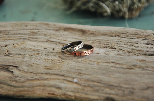 sterling and copper rings
