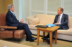 Secretary Kerry Holds One-on-One Discussion With Russian Foreign Minister Lavrov in Geneva About Ukraine