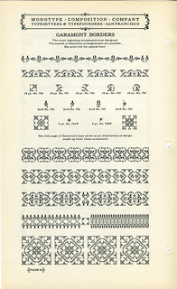 Monotype Garamont Borders type specimen