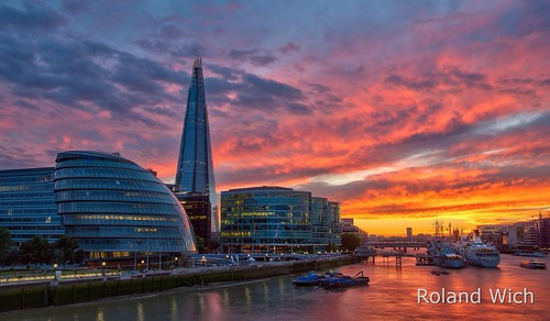 uk bridge sunset london tower thames river britain united great kingdom gb shard themse