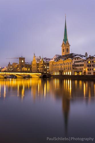Zurich in the Blue Hour, Switzerland