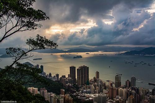 hongkong downtown world sunset water sky light sun clouds sea summer city new orange hkg peak