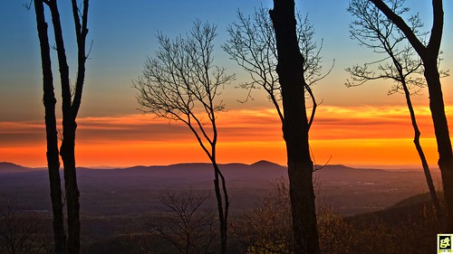 sunset hues colors orange blue mountains trees forest woods