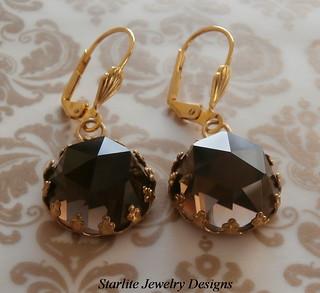 Smokey Quartz Earrings ~ ROSE CUT Vintage Gemstone Earrings ~ Golden Smokey Quartz ~ 1940s Rose Cut Gemstone Earrings ~ TRUE VINTAGE