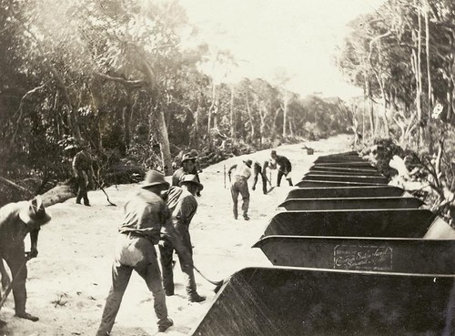 Construction of the Pacific Highway at Surfers Paradise ca. 1925