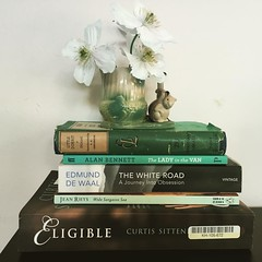 My second hand book buying habit is starting to get a little out of hand. Nearly finished White Road which is a surprisingly gripping page turner, considering it's non-fiction. Plus clematis in a squirrel vase, because. #theyearinbooks