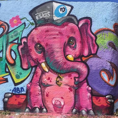Pink elephant   3º encontro de hip-hop da cidade de poções-Ba  #bigodosapo #pink #magenta #elephant #elephantpainting #novadezordem #abp #academiabrasileiradepersonagens #eskisteam #eskis #graffitiart #musas