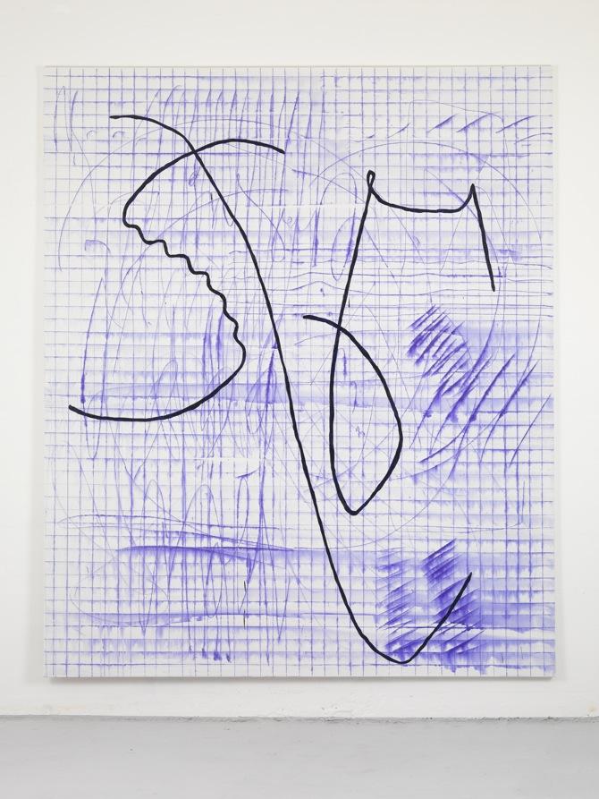 19 Jana Schröder, Spontacts, L 9, 2012, 240x 200 cm, Kopierstift und Öl auf Leinwand, 2012