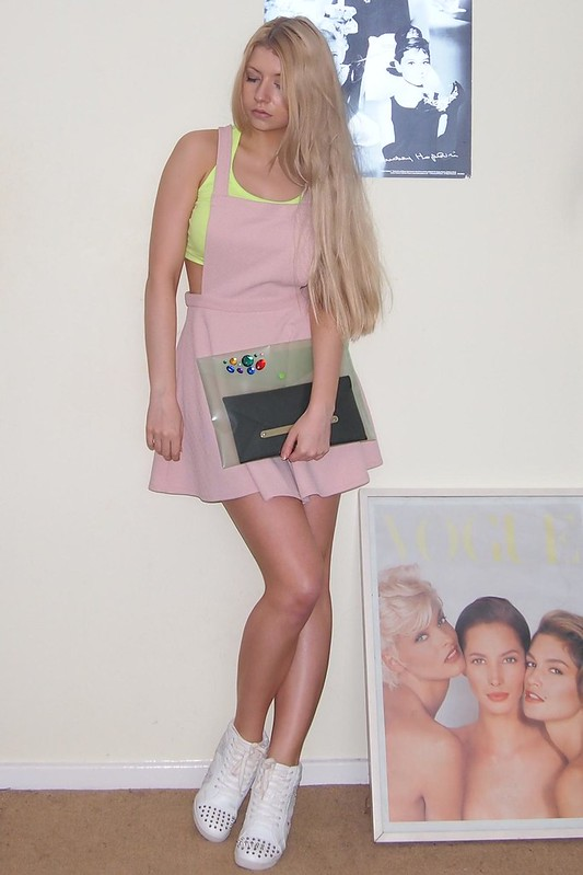 Neon, Sam Muses, Primark Crop Top, New Look Pinafore Dress, Tokyo Doll, Pastels, Trainers, Wedge High Tops, Studs, Studded, DIY Embellished Envelope Clutch