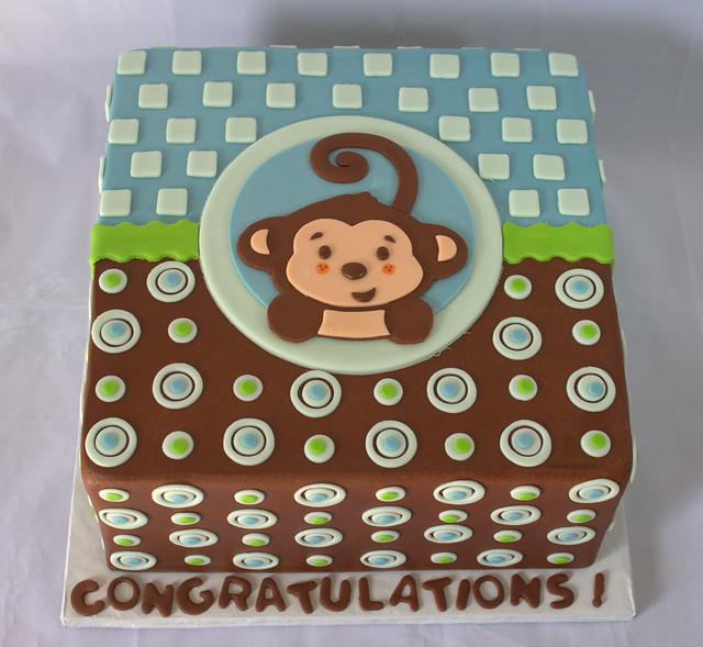Monkey baby shower cake for a boy flickr photo sharing - Monkey baby shower cakes for boys ...