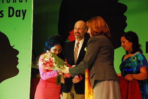 "Ritu Lama receives the first prize form the song category for her song ""Sisters need to understand"". © WWF Nepal, Hariyo Ban Program"
