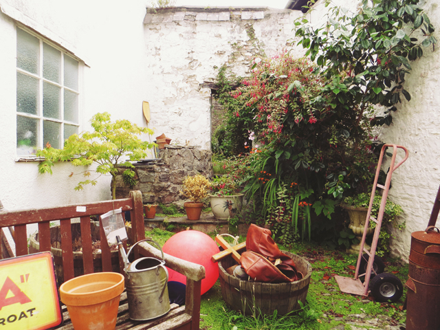 garden with antiques