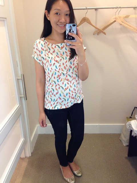 LOFT Birds of Paradise Print tee, in sz XXSP