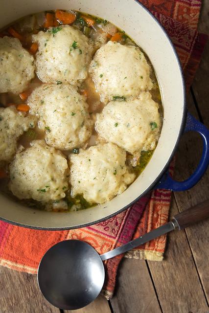 A pot of chicken dumplings