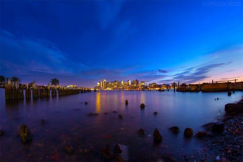 Boston Skyline During Blue Hour at Carlton's Wharf East Boston, 8mm Fisheye by Greg DuBois Photography