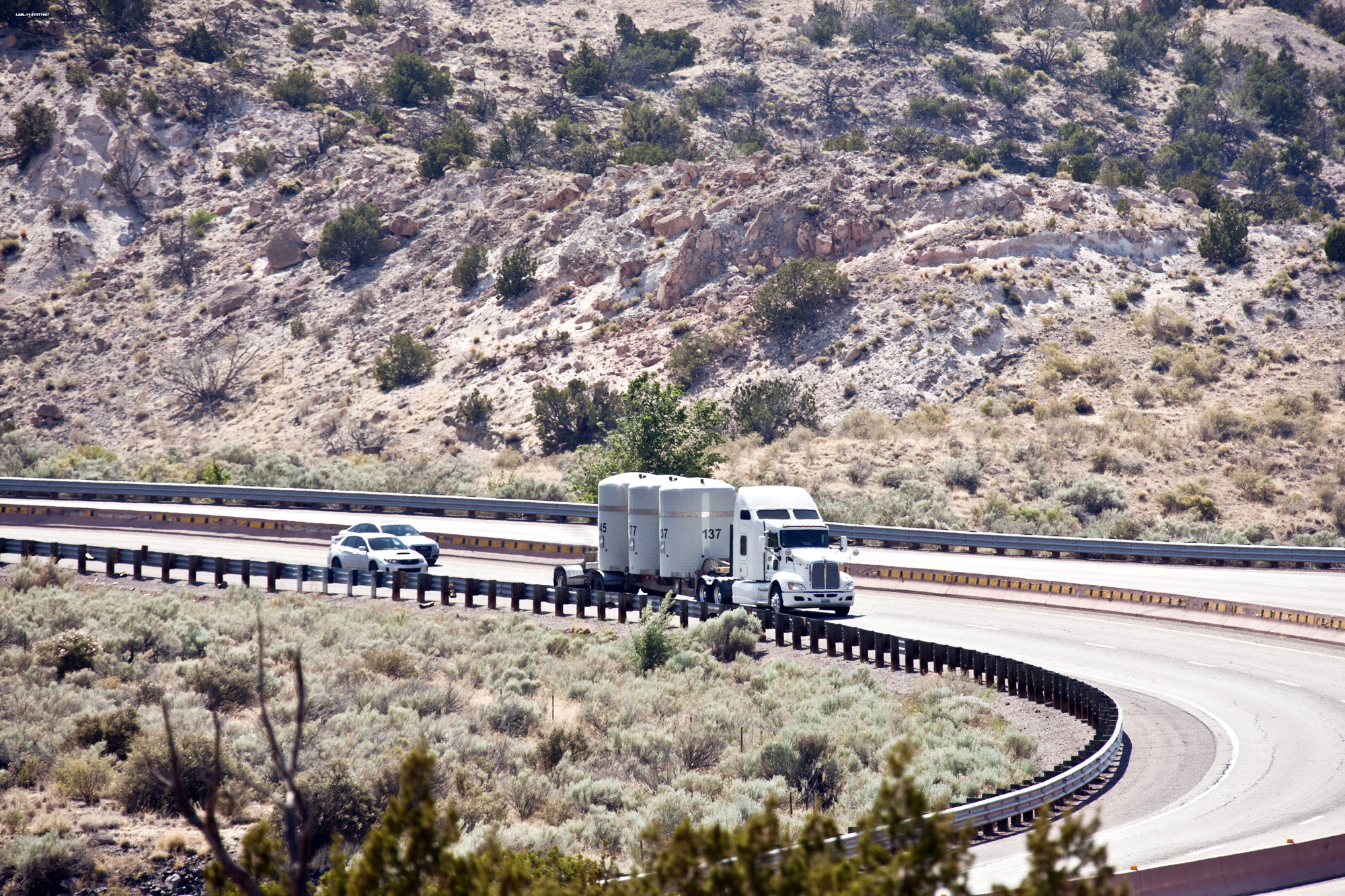 A shipment carrying Los Alamos transuranic waste headed to the Waste Isolation Pilot Plant in southeastern New Mexico.