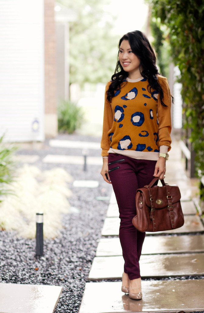 phillip lim target leopard animal pullover, burgundy wine oxblood jeans, michael kors flex pump, mulberry alexa look-for-less | petite fashion