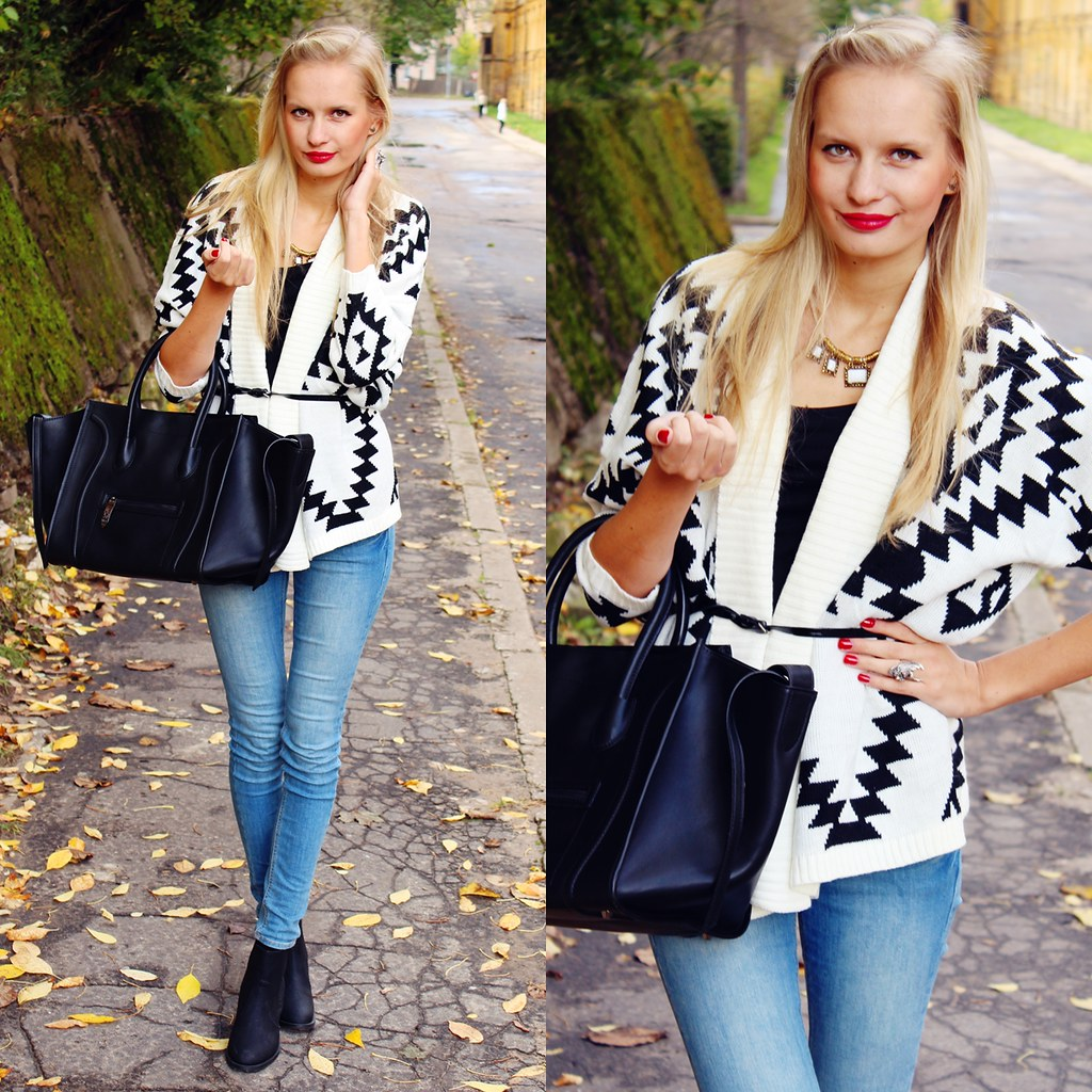ootd, outfit post fashion blogger, fashion blog call me maddie, aztec print cardigan choies, celine bag replica, black bag Persunmall, blonde girl and red lips, hazel eyes, chelsea boots H&M, H&M skinny jeans low waist, eagle ring, cubus