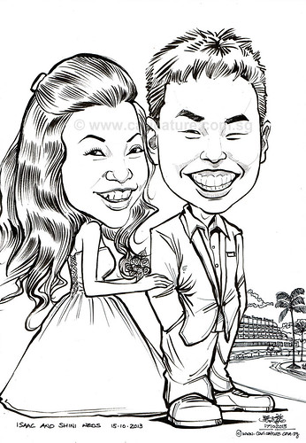 wedding couple caricatures at Rasa Sentosa Resort - A6 (watermarked)