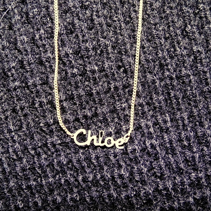 Chloe Name Necklace Delicate Gold