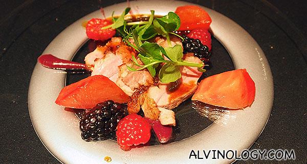 Main 1: Duck Breast - miso red fruits, chiogga beetroot
