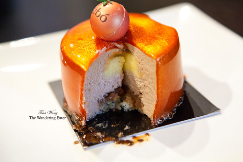 Mandarin orange, milk chocolate mousse, lemon curd, and hazelnut praline cake