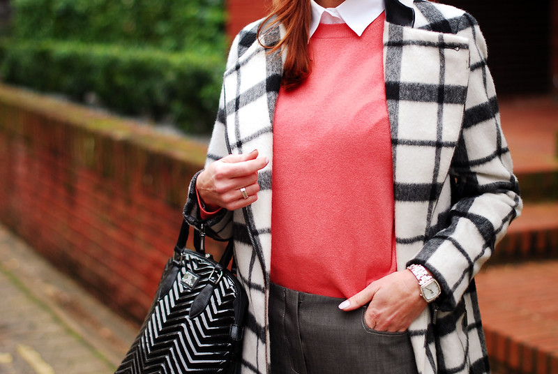 Black & white check coat, coral sweater