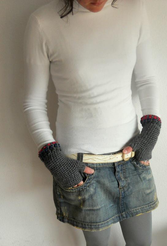 mitones a crochet-bordados