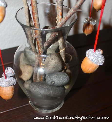 Fall decorating with a giltter acorn tree
