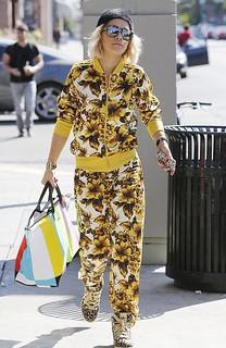 Rita Ora Floral Bomber Jacket Celebrity Style Women's Fashion