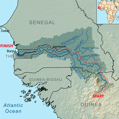 River Gambia Expedition route map