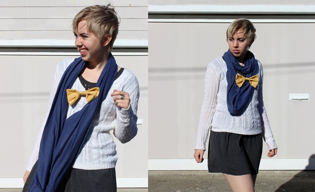 Blue Circle Scarf, White Fuzzy Knit Sweater, Short Grey Skirt, Yellow Bow Brooch - OOTD 12/29/2013