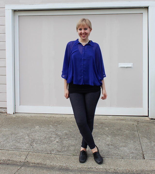 Sheer Royal Blue Poncho Cape, Navy Blue Leggings, Black Halter Top - OOTD 1/6/2013