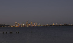 Dusk and a view of the Perth city skyline from Applecross